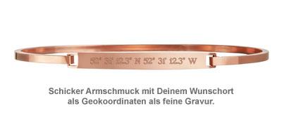 Armreif Rosegold mit Gravur - Geokoordinaten - 2