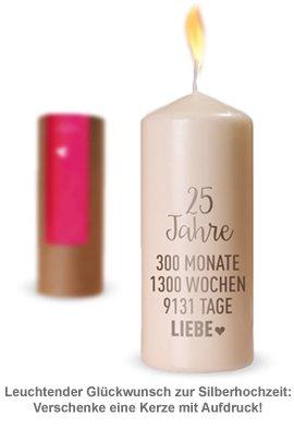 Kerze Silberhochzeit - 25 Jahre Liebe - 2