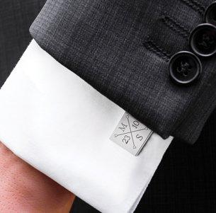 Manschettenknöpfe Silber zur Hochzeit - eckig - Monogramm - 4