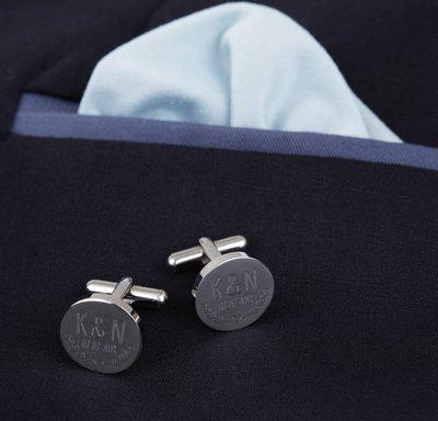 Manschettenknöpfe Silber zur Hochzeit - rund - Blätter - 4