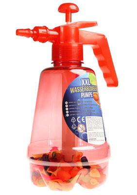 Wasserbombenfüller - Pumpe mit 100 Wasserballons - rot - 2