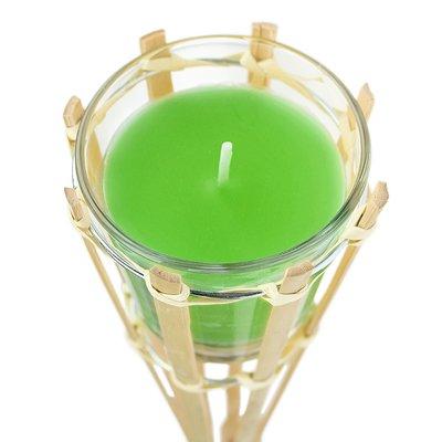 Gartenfackel mit Duftkerze im Glas - grün - 2