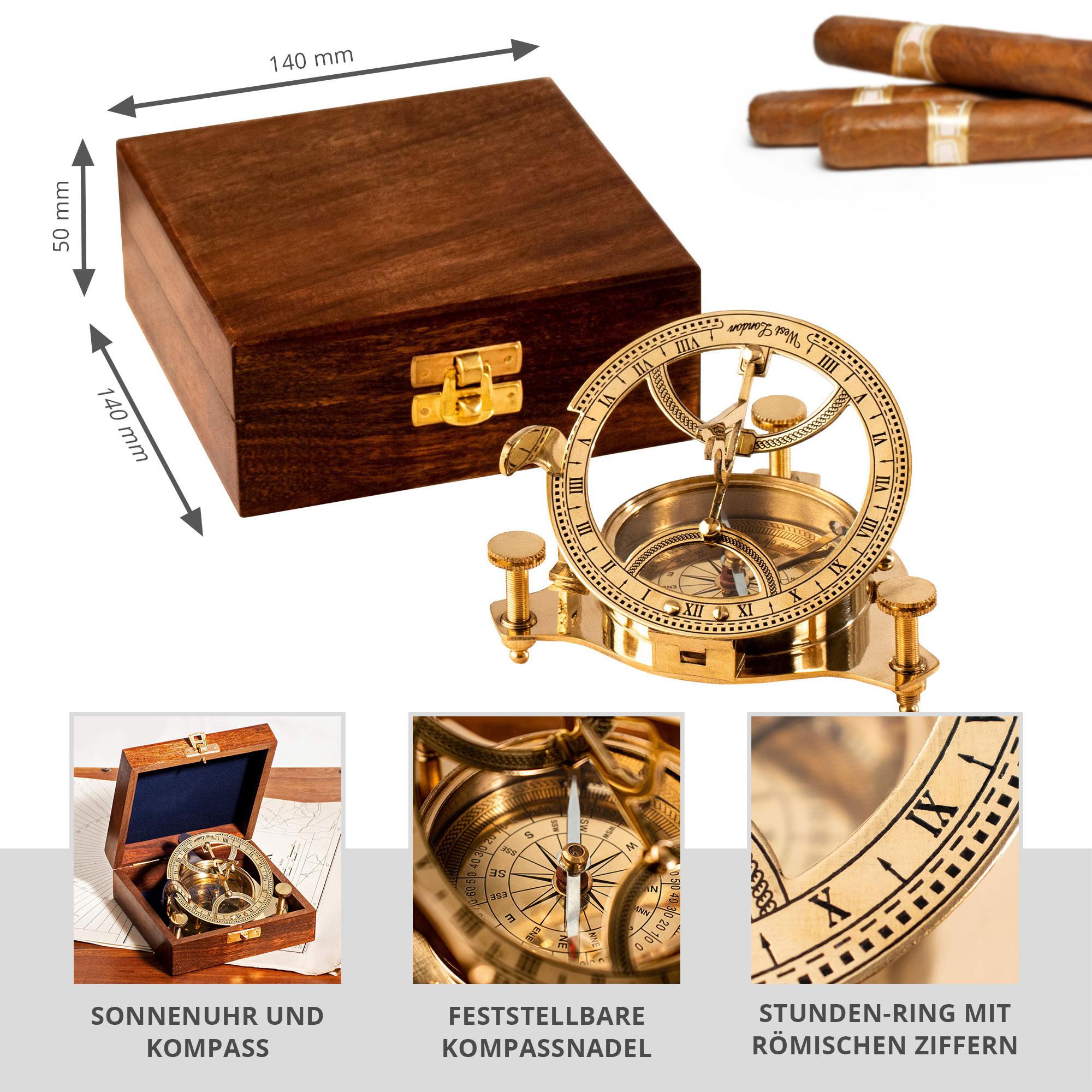 Taschen-Sonnenuhr mit Kompass - 2