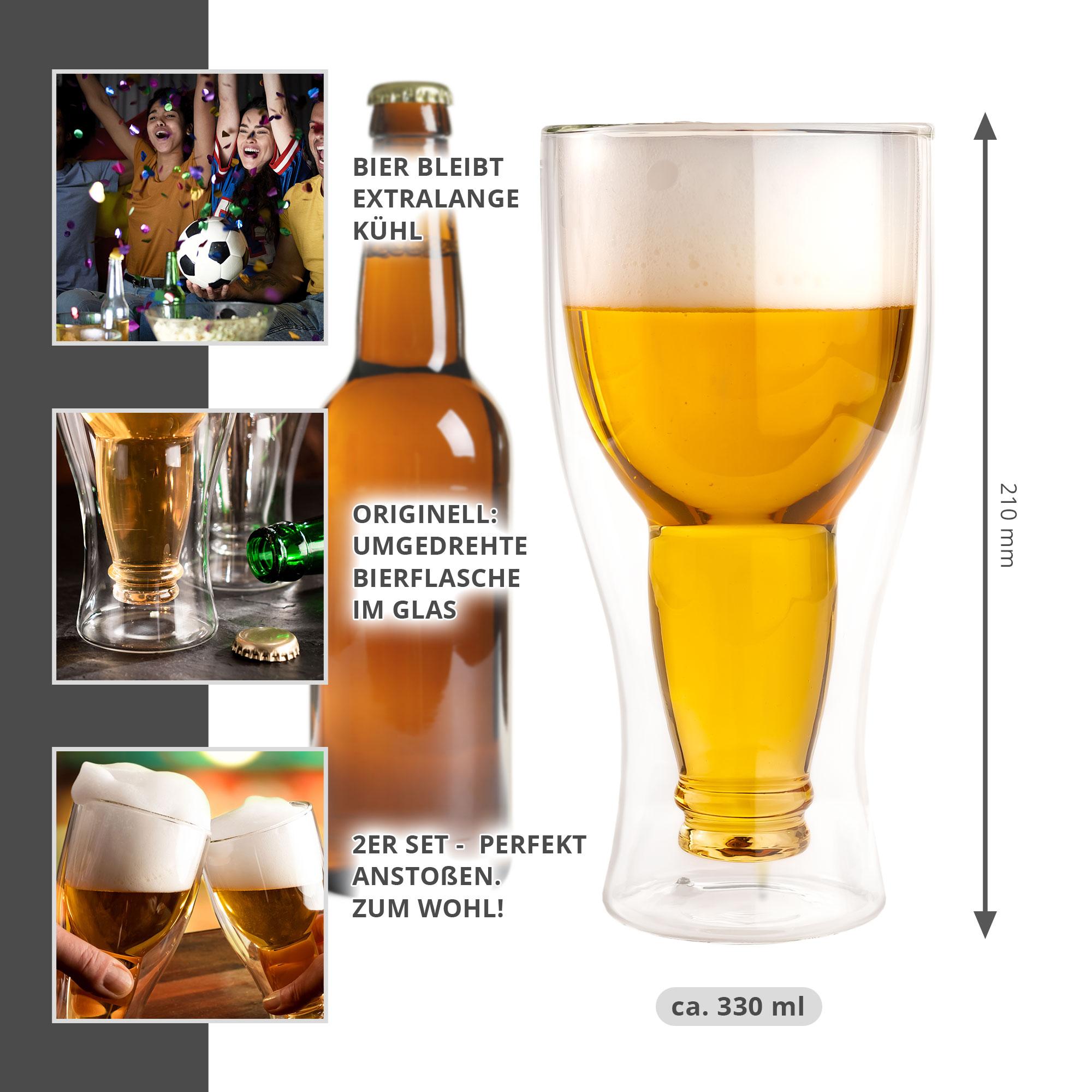 Flasche im Glas - 0,33 l Bierglas 2er Set - 4