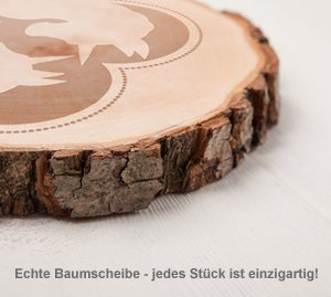 Baumscheibe mit Gravur - Einhornpärchen - 3