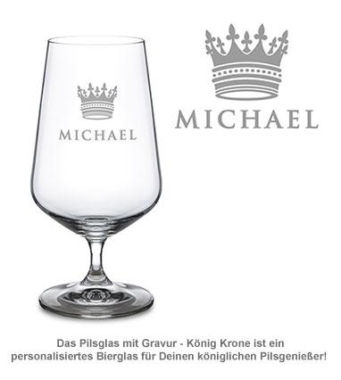 Bierglas mit Gravur - König Krone - 2