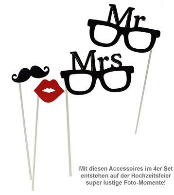 foto accessoires zur hochzeit mr and mrs set f r photo booth. Black Bedroom Furniture Sets. Home Design Ideas