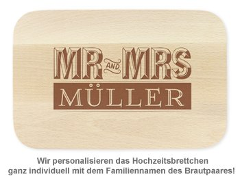 Frühstücksbrettchen mit Gravur - Mr and Mrs - 2