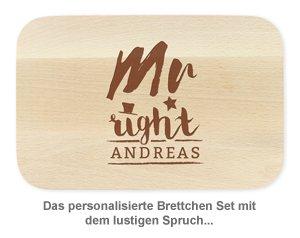 Frühstücksbrettchen Set mit Gravur - Mr and Mrs Right - 2