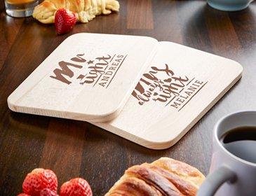 Frühstücksbrettchen Set mit Gravur - Mr and Mrs Right - 4