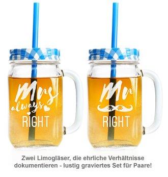Gläser mit Deckel und Strohhalm Set - Mr and Mrs Right - 2