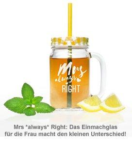 Gläser mit Deckel und Strohhalm Set - Mr and Mrs Right - 3