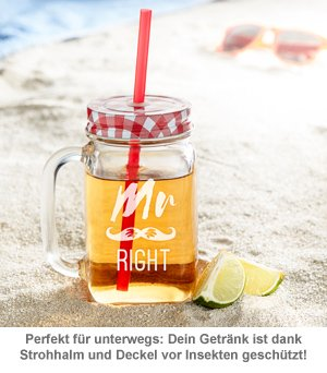 Gläser mit Deckel und Strohhalm Set - Mr and Mrs Right - 4