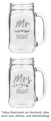Gläser mit Deckel und Strohhalm Set - Mr and Mrs Right - 5