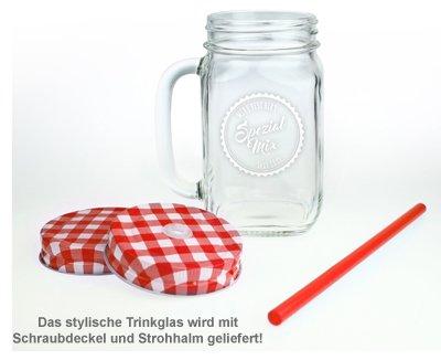 Glas mit Deckel und Strohhalm - personalisiert - 2