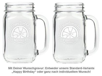 Glas mit Deckel und Strohhalm zum Geburtstag - 3