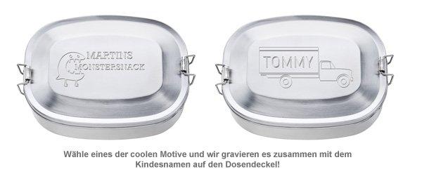 Gravierte Edelstahl Lunchbox für Jungs - rund - 2