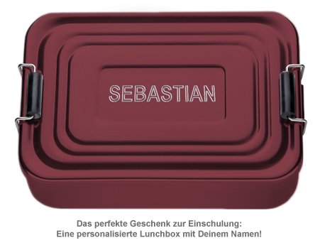 Gravierte Lunchbox - Name (rot) - 2
