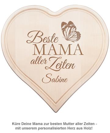 Graviertes Holzherz - Beste Mama aller Zeiten - 2