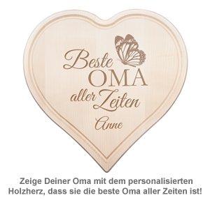 Graviertes Holzherz - Beste Oma aller Zeiten - 2