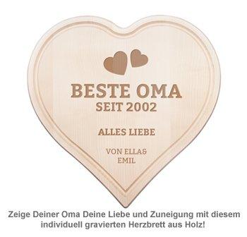 Graviertes Holzherz - Beste Oma von Herzen - 2