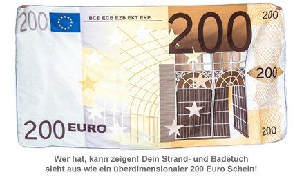 handtuch 200 euro schein microfaser badetuch geldaufdruck. Black Bedroom Furniture Sets. Home Design Ideas