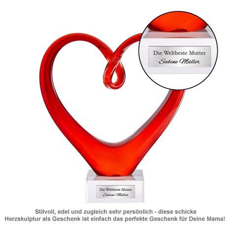 Herz aus Glas mit Gravur - Weltbeste Mutter - 2
