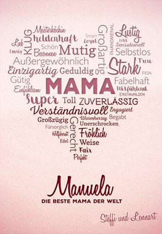 Herz aus Worten - personalisiertes Bild für Mama - 2