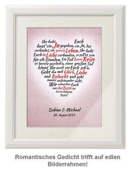 Herz aus Worten - personalisiertes Bild zur Hochzeit Weiß - 2