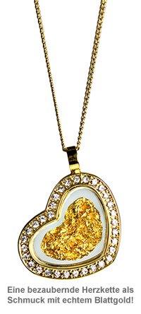 Herz Halskette mit 23 Karat Blattgold und Strass - 2