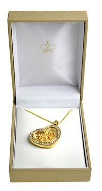 Herz Halskette mit 23 Karat Blattgold und Strass - 3