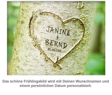 Herz im Baum Frühlingsbild - personalisiert - 2