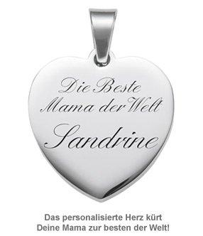 Herzanhänger graviert mit Kette - Beste Mama - 2