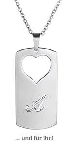 Herzanhänger Set für Paare - Initialen Gravur - 3