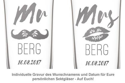 Herzen Sektgläser - Mr and Mrs mit Namensgravur - 2