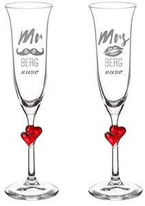 Herzen Sektgläser - Mr and Mrs mit Namensgravur - 4