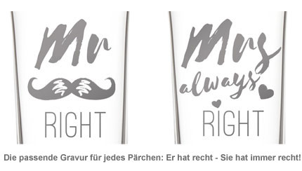 Herzen Sektgläser - Mr and Mrs Right - 2