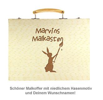 Malkasten Set mit Holzkoffer - Hasen Gravur - 2