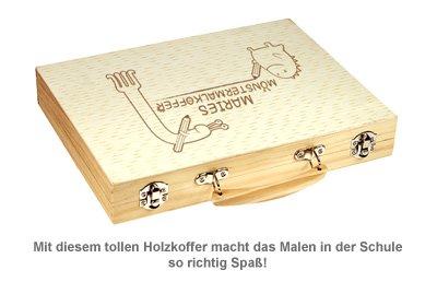 Malkasten Set mit Holzkoffer - Monster Gravur - 2