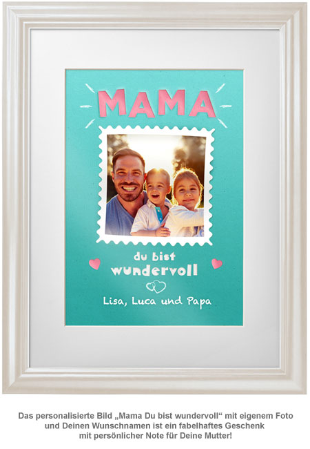 Mama Du bist wundervoll - personalisiertes Bild weiß - 2