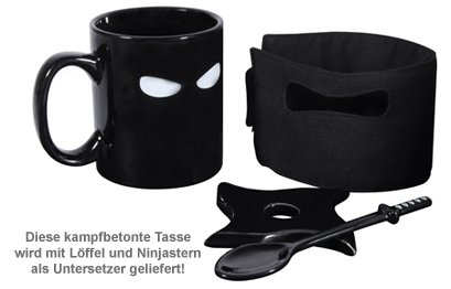 ninja tasse mit l ffel und untersetzer kaffee. Black Bedroom Furniture Sets. Home Design Ideas
