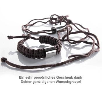 Paracord Armband graviert - Braun - 2