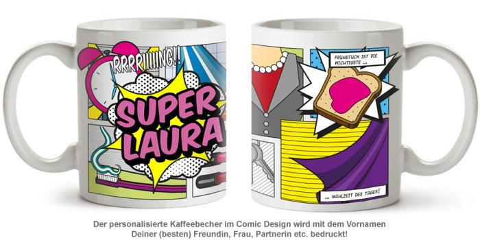 Personalisierte Comic Tasse - Super Frau - 2