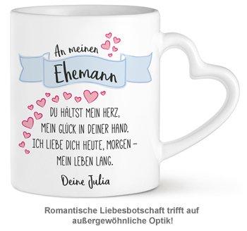 Personalisierte Herz Henkeltasse - Liebesgedicht Ehemann - 2