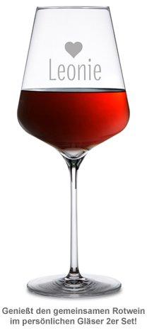 Personalisierte Weingläser Herz - 2er Set - 3