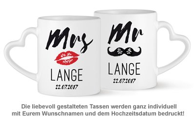 Personalisiertes Herz Henkeltasse Set - Mr and Mrs - 2