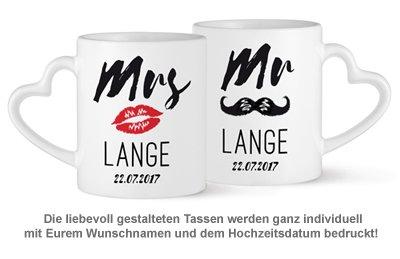 Personalisiertes Herz Henkeltasse Set - Mr and Mrs - 2