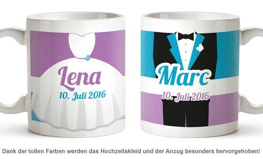 Personalisiertes Tassen Paar zur Hochzeit - Bunt - 2