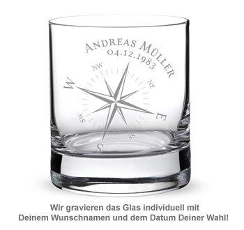 Personalisiertes Whiskyglas - Kompass - 2