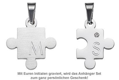 Puzzle Anhängerset für Paare - mit Gravur - 2